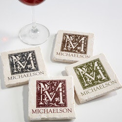 Birthday Gifts for Men Under $50:Personalized Tumbled Stone Drink Coasters -..