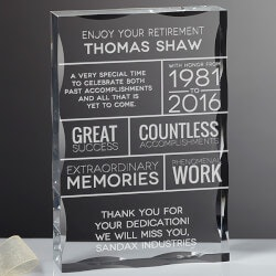 Personalized Gifts for Coworkers:Personalized Retirement Keepsake Block
