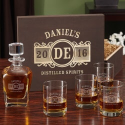 70th Birthday Gifts Under $200:Marquee Whiskey Decanter And Eastham Glass..