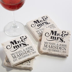 Personalized Gifts (Under $25):Personalized Stone Coaster Set - Mr & Mrs..
