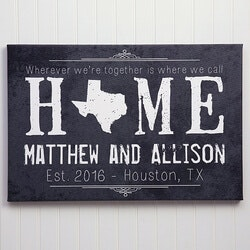 Gifts for Wife:Personalized Home State Canvas