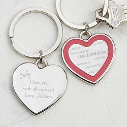 Anniversary Gifts for Girlfriend:Personalized Heart Keychains - My Sweetheart