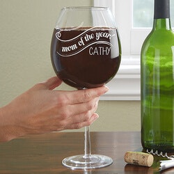 Personalized Wine Glass - Whole Bottle - Mom..