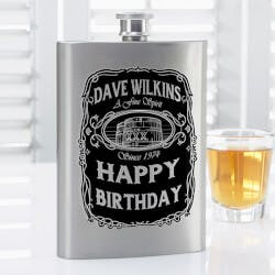 Personalized Drinking Flask - Whiskey Label