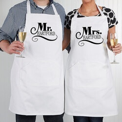 Wedding Gifts:Personalized Wedding Aprons - Happy Couple
