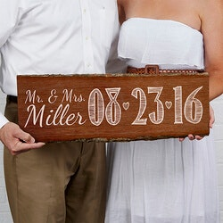 Wedding Gifts:Personalized Wedding Date Sign - Rustic..