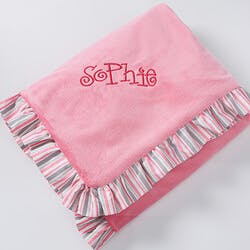 Pink Velour Embroidered Baby Blanket