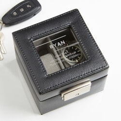 Personalized Leather 2 Slot Watch Box - 10..