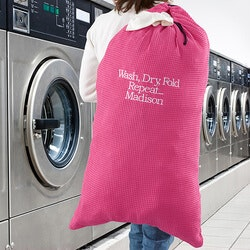Personalized Christmas Gifts for Sister:Embroidered Pink Laundry Bag