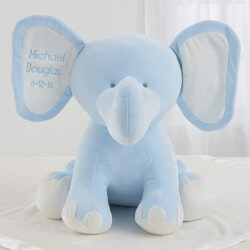 Gifts for Baby Under $50:Embroidered Jumbo Plush Baby Elephant - Blue
