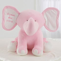 Embroidered Jumbo Plush Baby Elephant - Pink