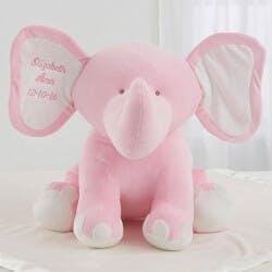 Embroidered Jumbo Plush Baby Elephant - Pink