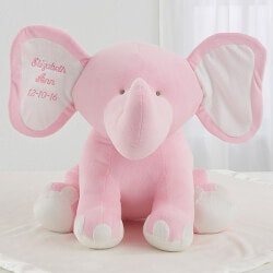 Personalized Gifts for 3 Year Old:Embroidered Jumbo Plush Baby Elephant - Pink