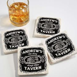 Personalized Tumbled Stone Coaster Set -..