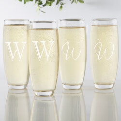 Personalized Gifts (Under $25):Personalized Stemless Champagne Flute Set Of..