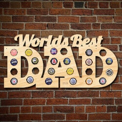 70th Birthday Gifts Under $50:Worlds Best Dad Gift - Beer Cap Map