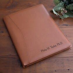 Personalized Executive Leather Portfolio - Tan