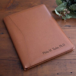 Gifts Under $100:Personalized Executive Leather Portfolio - Tan