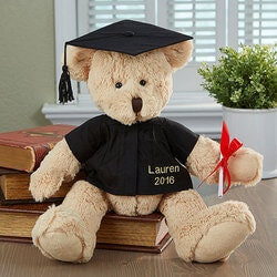 Personalized Bear With Graduation Gown And Cap