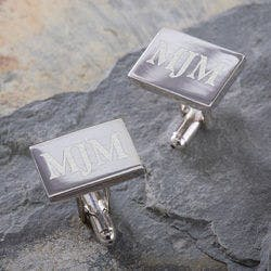 Personalized Silver Engraved Cuff Links -..