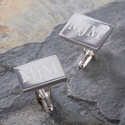 Personalized Gifts for Husband:Silver Engraved Cuff Links