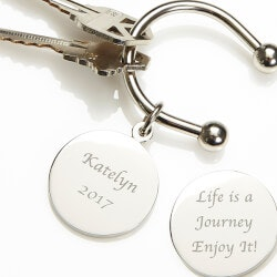 High School Graduation Gifts:Engraved Silver Keyring - Life Is A Journey