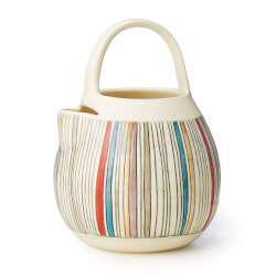 Striped Stoneware Pitcher Pot