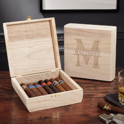 Retirement Gifts for Coworkers:Santiago Wooden Oakmont Personalized Cigar..