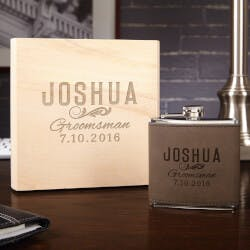 Classic Groomsman Custom Flask Set With..