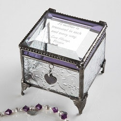 Valentines Day Gifts for Wife:Personalized Glass Jewelry Box