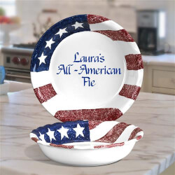 Personalized Pie Plate with Flag