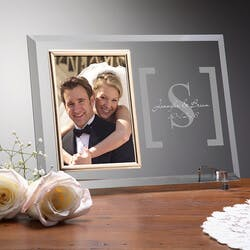 Engraved Glass Wedding Picture Frame With..