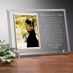 Personalized Gifts for Teenage Girls:Custom Glass Graduation Picture Frame - As..
