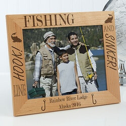 Birthday Gifts for Men Under $50:Personalized Fishing Custom Wood Picture..