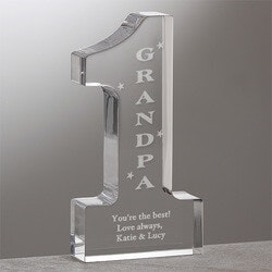 Personalized Gifts for Father In Law:Number One Grandpa Engraved Sculpture