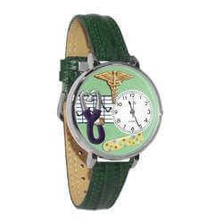 Nurse 2 Green Watch In Silver (Large)