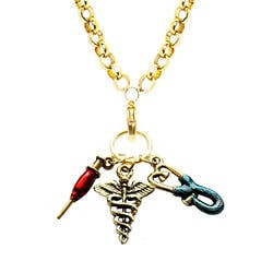 Nurse Charm Necklace In Gold