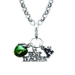 Teacher Charm Necklace In Silver