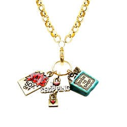 Shopper Mom Charm Necklace In Gold