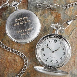 Personalized Gifts:Wedding Day Engraved Silver Pocket Watch