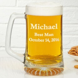 Personalized Glass Beer Mug In Wedding Party..