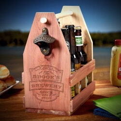 Personalized Gifts for Husband:Wooden Beer Caddy
