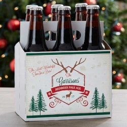 Personalized Gifts (Under $10):Custom 6 Pack Bottle Carrier - Holiday Brew