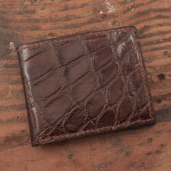 Amish Crafted Brown Alligator Skin Bifold..