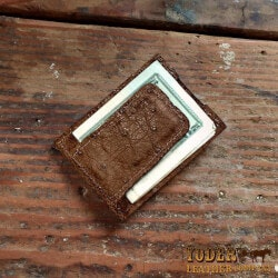 Christmas Gifts Under $100:Amish Crafted Brown Ostrich Skin Money Clip..