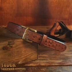Amish Crafted Brown Ostrich Skin Leather Belt