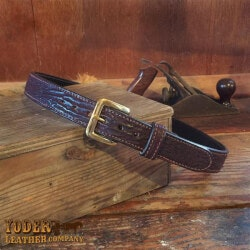 Unusual Birthday Gifts for Men:Amish Crafted Brown Shark Skin Leather Belt