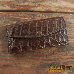 Black Alligator Skin Leather Handbag Clutch