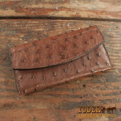 Amish Crafted Brown Ostrich Skin Leather..