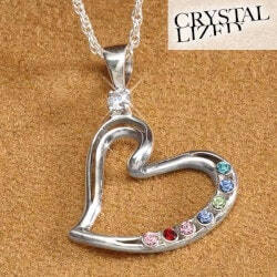 Gifts for Mom:Mothers Heart Birthstone Pendant